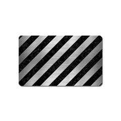 Stripes3 Black Marble & Silver Brushed Metal Magnet (name Card) by trendistuff