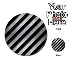 Stripes3 Black Marble & Silver Brushed Metal Multi Purpose Cards (round) by trendistuff