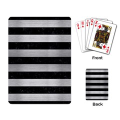 Stripes2 Black Marble & Silver Brushed Metal Playing Cards Single Design by trendistuff