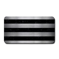Stripes2 Black Marble & Silver Brushed Metal Medium Bar Mat by trendistuff