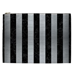 Stripes1 Black Marble & Silver Brushed Metal Cosmetic Bag (xxl) by trendistuff