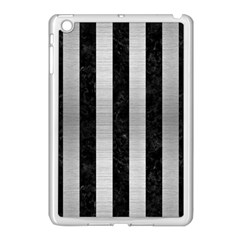 Stripes1 Black Marble & Silver Brushed Metal Apple Ipad Mini Case (white) by trendistuff