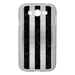Stripes1 Black Marble & Silver Brushed Metal Samsung Galaxy Grand Duos I9082 Case (white) by trendistuff
