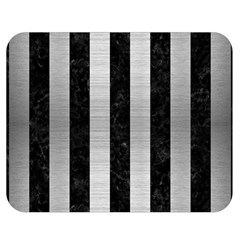 Stripes1 Black Marble & Silver Brushed Metal Double Sided Flano Blanket (medium) by trendistuff