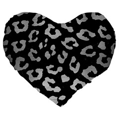 Skin5 Black Marble & Silver Brushed Metal (r) Large 19  Premium Flano Heart Shape Cushion by trendistuff