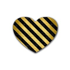 Stripes3 Black Marble & Gold Brushed Metal (r) Rubber Coaster (heart) by trendistuff