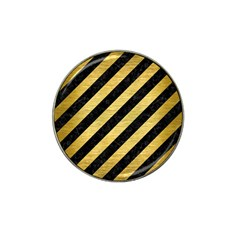 Stripes3 Black Marble & Gold Brushed Metal Hat Clip Ball Marker (10 Pack) by trendistuff