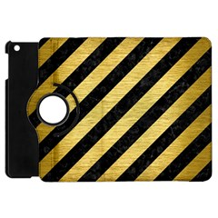 Stripes3 Black Marble & Gold Brushed Metal Apple Ipad Mini Flip 360 Case by trendistuff