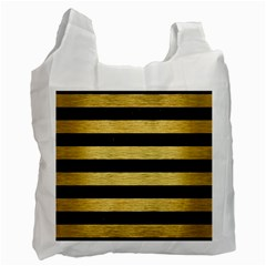 Stripes2 Black Marble & Gold Brushed Metal Recycle Bag (one Side) by trendistuff