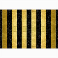 Stripes1 Black Marble & Gold Brushed Metal Collage 12  X 18  by trendistuff