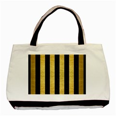 Stripes1 Black Marble & Gold Brushed Metal Basic Tote Bag by trendistuff