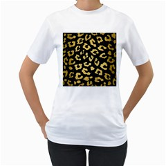 Skin5 Black Marble & Gold Brushed Metal (r) Women s T Shirt (white) (two Sided) by trendistuff