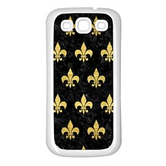 Royal1 Black Marble & Gold Brushed Metal (r) Samsung Galaxy S3 Back Case (white) by trendistuff