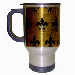 Royal1 Black Marble & Gold Brushed Metal Travel Mug (silver Gray) by trendistuff