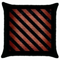Stripes3 Black Marble & Copper Brushed Metal (r) Throw Pillow Case (black)