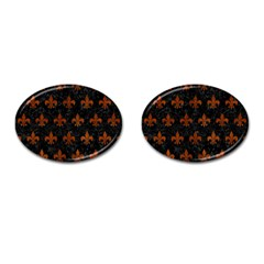 Royal1 Black Marble & Brown Burl Wood (r) Cufflinks (oval) by trendistuff