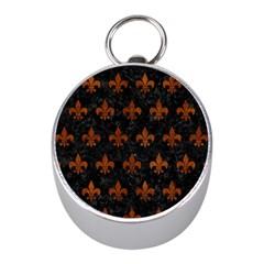 Royal1 Black Marble & Brown Burl Wood (r) Silver Compass (mini) by trendistuff
