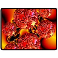 Flame Delights, Abstract Crimson Red Fire Fractal Double Sided Fleece Blanket (large)  by DianeClancy