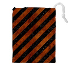 Stripes3 Black Marble & Brown Burl Wood Drawstring Pouch (xxl) by trendistuff