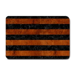 Stripes2 Black Marble & Brown Burl Wood Small Doormat by trendistuff