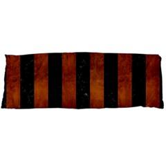 Stripes1 Black Marble & Brown Burl Wood Body Pillow Case Dakimakura (two Sides) by trendistuff