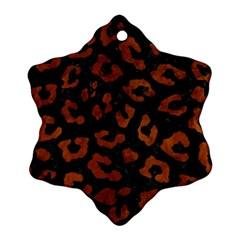 Skin5 Black Marble & Brown Burl Wood (r) Snowflake Ornament (two Sides) by trendistuff