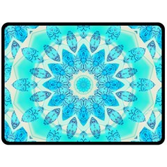 Blue Ice Goddess, Abstract Crystals Of Love Double Sided Fleece Blanket (large)  by DianeClancy