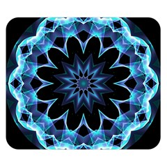 Crystal Star, Abstract Glowing Blue Mandala Double Sided Flano Blanket (small)  by DianeClancy