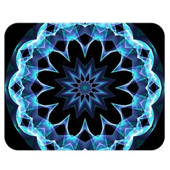 Crystal Star, Abstract Glowing Blue Mandala Double Sided Flano Blanket (medium)  by DianeClancy