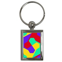 Colorful Misc Shapes                                                  			key Chain (rectangle) by LalyLauraFLM
