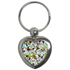 Brush Strokes On A White Background                                                   key Chain (heart) by LalyLauraFLM