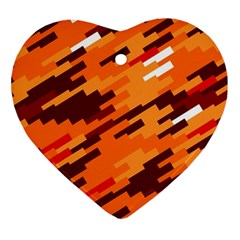 Brown Orange Shapes                                                    ornament (heart) by LalyLauraFLM