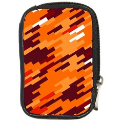 Brown Orange Shapes                                                    compact Camera Leather Case by LalyLauraFLM
