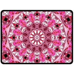 Twirling Pink, Abstract Candy Lace Jewels Mandala  Double Sided Fleece Blanket (large)  by DianeClancy