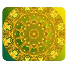 Yellow Green Abstract Wheel Of Fire Double Sided Flano Blanket (small)  by DianeClancy
