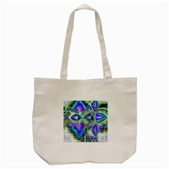 Abstract Peacock Celebration, Golden Violet Teal Tote Bag (cream) by DianeClancy