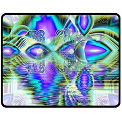 Abstract Peacock Celebration, Golden Violet Teal Double Sided Fleece Blanket (medium)  by DianeClancy