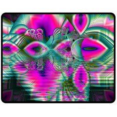 Crystal Flower Garden, Abstract Teal Violet Double Sided Fleece Blanket (medium)  by DianeClancy