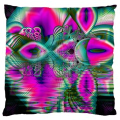 Crystal Flower Garden, Abstract Teal Violet Large Flano Cushion Case (two Sides) by DianeClancy