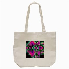 Crystal Flower Garden, Abstract Teal Violet Tote Bag (cream) by DianeClancy
