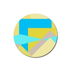 Blue Yellow Shapes                                                        rubber Coaster (round) by LalyLauraFLM