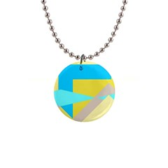 Blue Yellow Shapes                                                        			1  Button Necklace by LalyLauraFLM