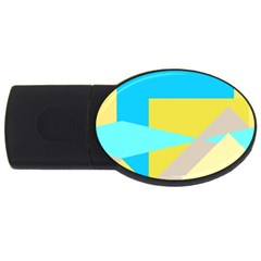 Blue Yellow Shapes                                                        			usb Flash Drive Oval (4 Gb) by LalyLauraFLM