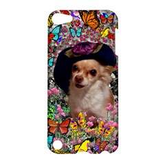 Chi Chi In Butterflies, Chihuahua Dog In Cute Hat Apple Ipod Touch 5 Hardshell Case by DianeClancy