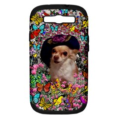 Chi Chi In Butterflies, Chihuahua Dog In Cute Hat Samsung Galaxy S Iii Hardshell Case (pc+silicone) by DianeClancy