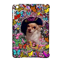 Chi Chi In Butterflies, Chihuahua Dog In Cute Hat Apple Ipad Mini Hardshell Case (compatible With Smart Cover) by DianeClancy