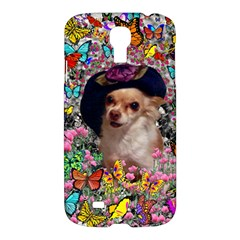 Chi Chi In Butterflies, Chihuahua Dog In Cute Hat Samsung Galaxy S4 I9500/i9505 Hardshell Case by DianeClancy