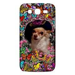 Chi Chi In Butterflies, Chihuahua Dog In Cute Hat Samsung Galaxy Mega 5 8 I9152 Hardshell Case  by DianeClancy