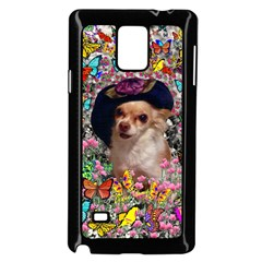 Chi Chi In Butterflies, Chihuahua Dog In Cute Hat Samsung Galaxy Note 4 Case (black) by DianeClancy