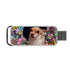 Chi Chi In Butterflies, Chihuahua Dog In Cute Hat Portable Usb Flash (one Side) by DianeClancy